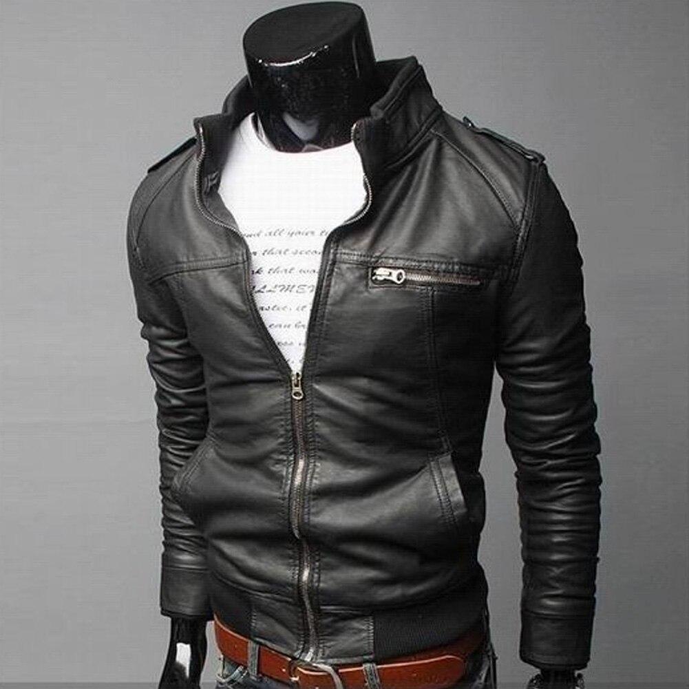 Мужская куртка из искусственной кожи, зимняя винтажная черная мотоциклетная куртка-бомбер на молнии, уличная кожаная куртка с карманом и во...
