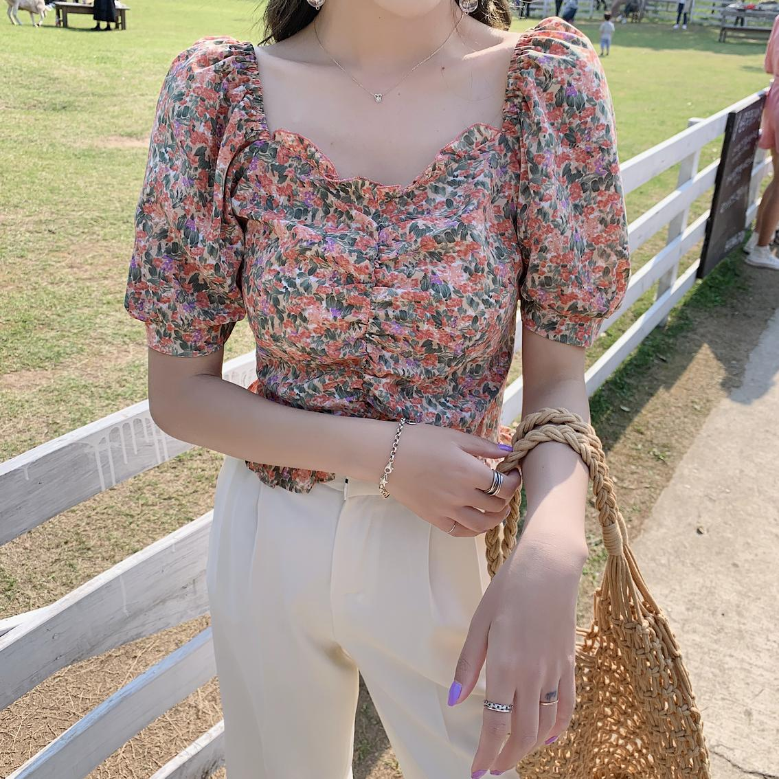 floral short sleeve blouse chiffon women tops 02135#