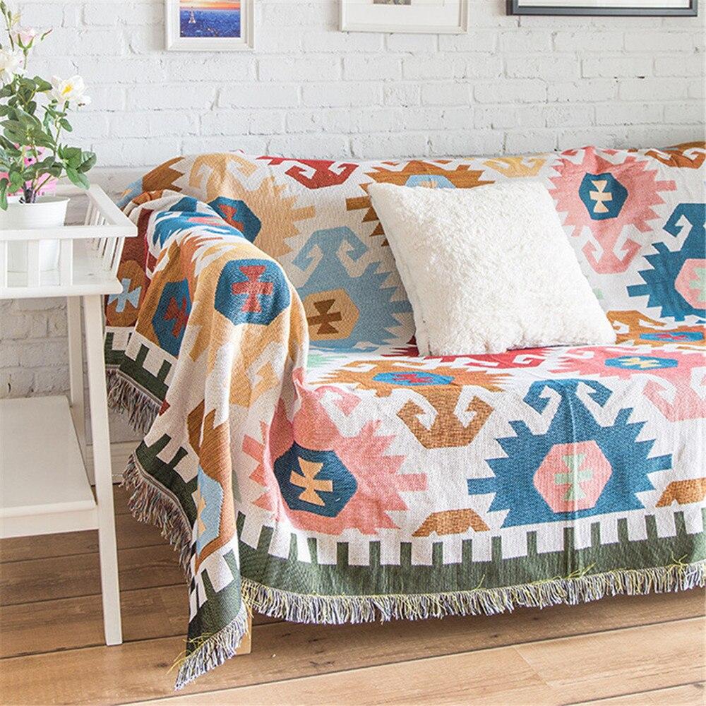 Manta para lanzar sofá a cuadros con motivos geométricos, manta para sofá y silla tejida, funda para sofá, alfombra, funda decorativa, colcha