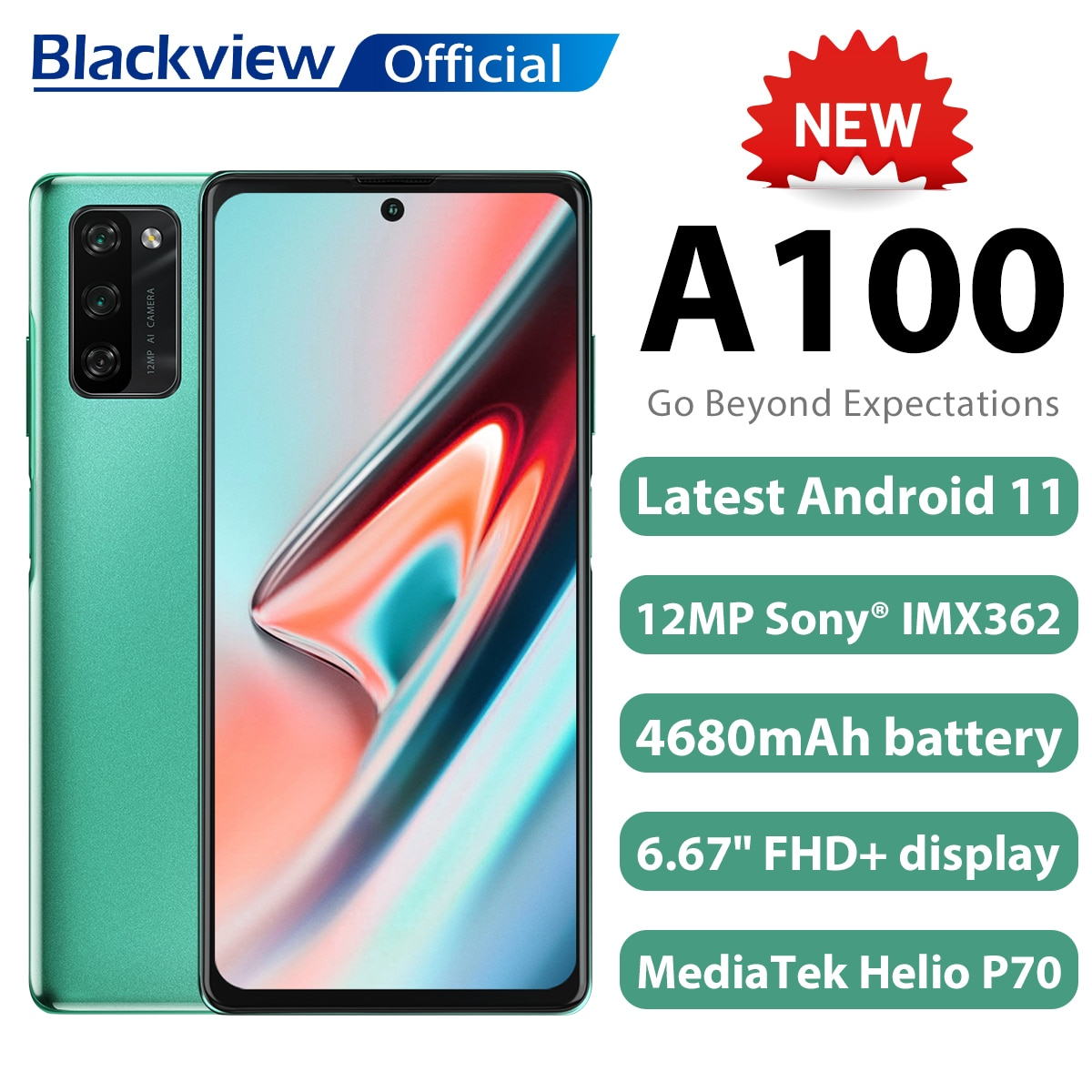 Blackview A100 Android 11 Smartphone 6GB+128GB Helio P70 6.67