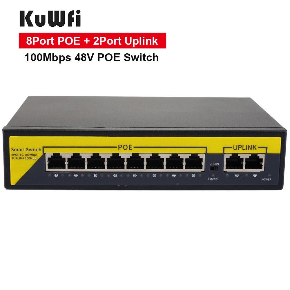 KuWFi POE التبديل 48 فولت 8 منافذ 100Mbps منافذ IEEE 802.3 af/at محول ايثرنت مناسبة للكاميرا IP/نقطة وصول لاسلكية راوتر