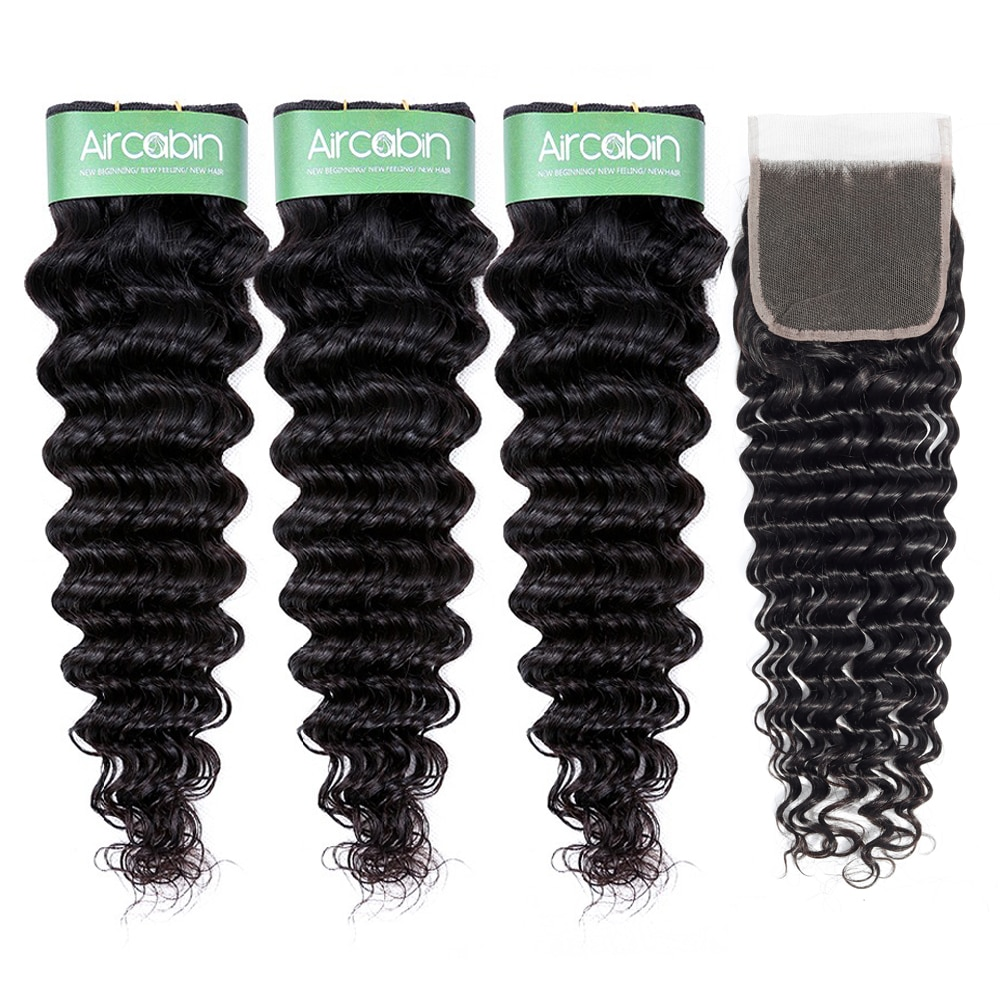 Aricabin Brazilian Deep Wave Bundles With Closure Remy Natural Weaves Human Hair Deep Curly Wave 3/4 Bundles With Lace Closure