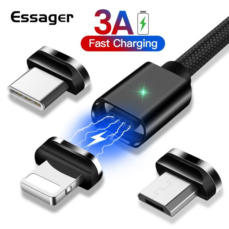 Essager מגנטי מיקרו USB כבל עבור iPhone סמסונג מהיר טעינת נתונים חוט כבל מגנט מטען USB סוג C 3m נייד טלפון כבל