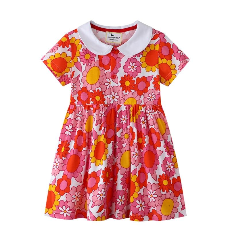 dresses mayoral 10686388 casual dress with short sleeves for girls Children Dresses Kids Girl Short Sleeves Flower Print Cotton Floral Dress Baby Girl Summer Dresses for Girls