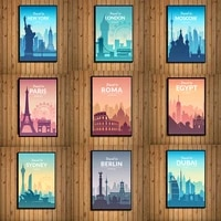 nordic famous city travel poster hd print on canvas cartoon london new york paris landscape painting wall art picture home decor