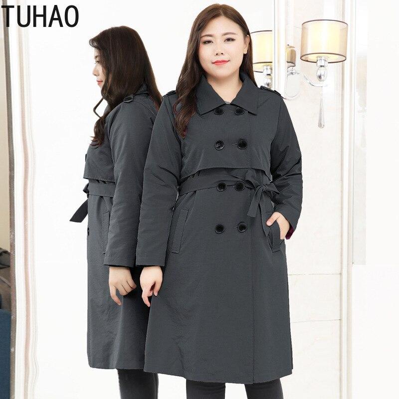 TUHAO خندق معطف للنساء الأم معطف أنيق المرأة معطف طويل فام حجم كبير 10XL 9XL 8XL 7XL المرأة سترة واقية طويلة