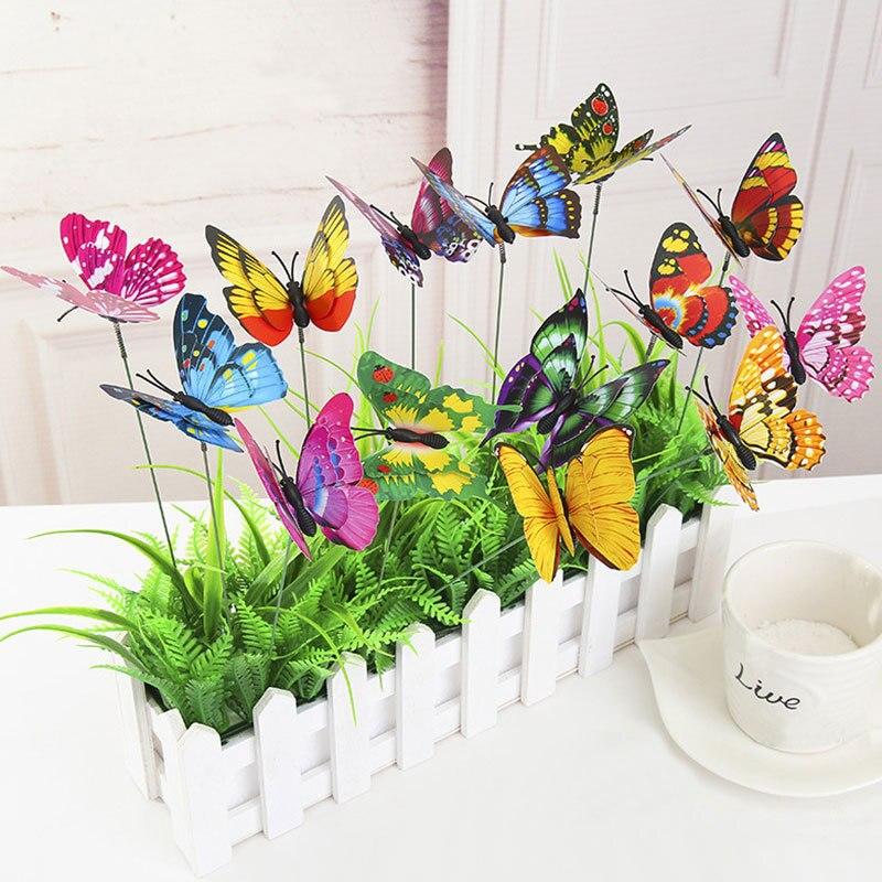 10 шт., горшок бабочек, садовый плантатор, красочные причудливые колья бабочки, уличный декор, цветок украшение Горшков
