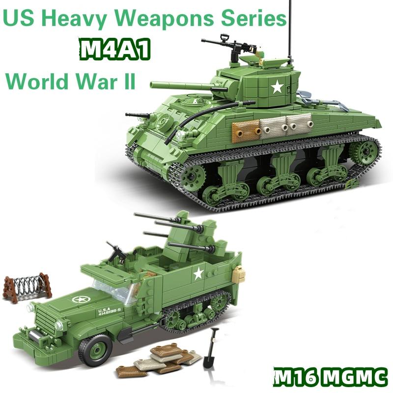 New WW2 US Army Weapons Series Sherman Tank MGMC Building Blocks Model Bricks  WW2 Military Figures Toys