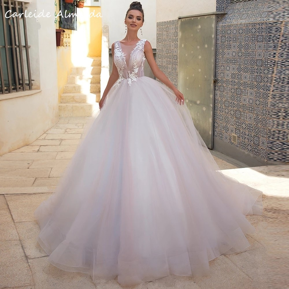 Promo Scoop Neck A Line Lace Appliques Simple Wedding Dresses Backless Sexy Bride Dress Sweep Train Wedding Gowns