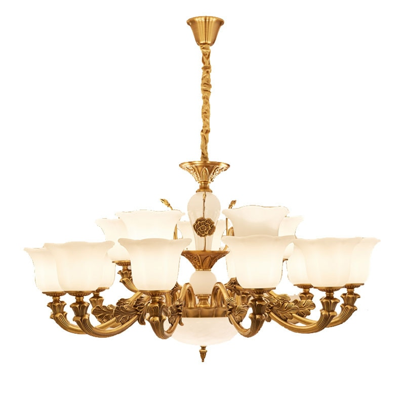 Europeo antiguo colgante de vidrio Jade blanco bronce colgante para el salón de luz dormitorio, estudio, comedor Hotel linternas