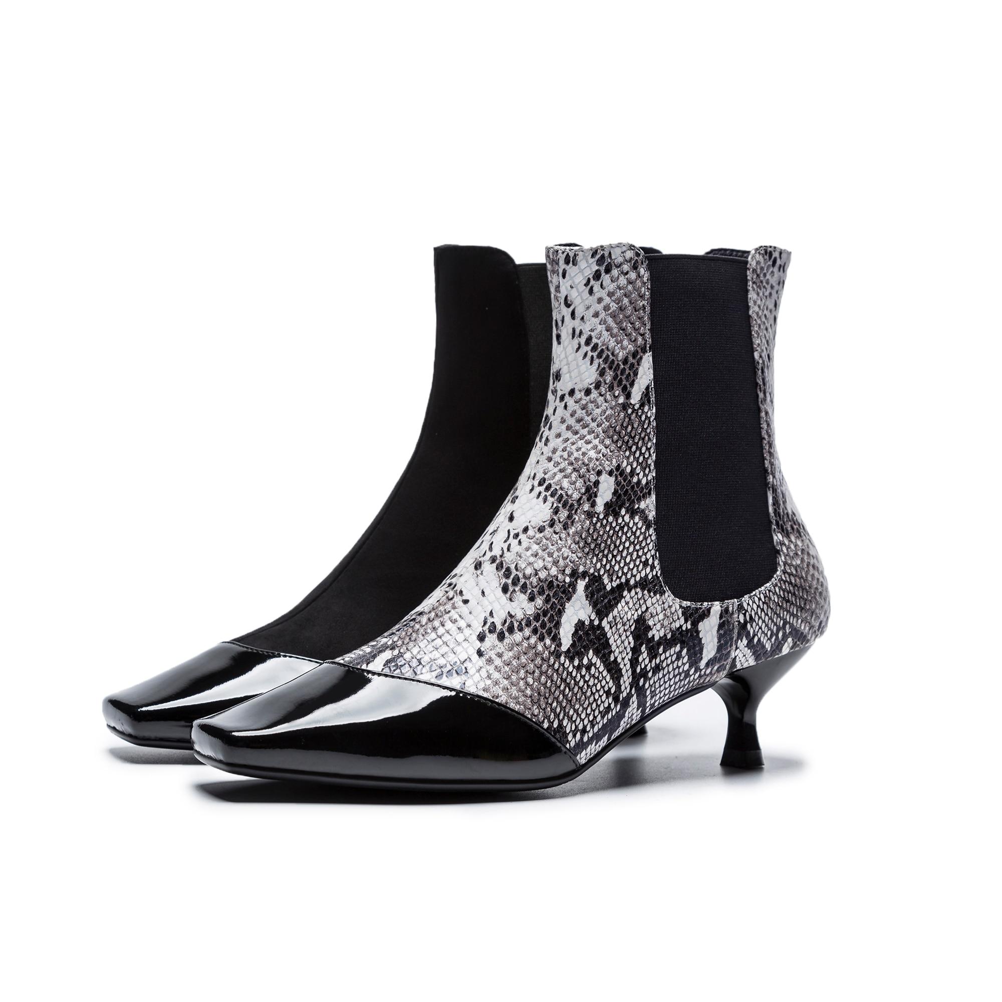 Botines de cuero natural para mujer, botas de gamuza de vaca para mujer, puntadas a mano, botas de tacón perfiladas con patrón de cocodrilo de cabeza cuadrada para mujer