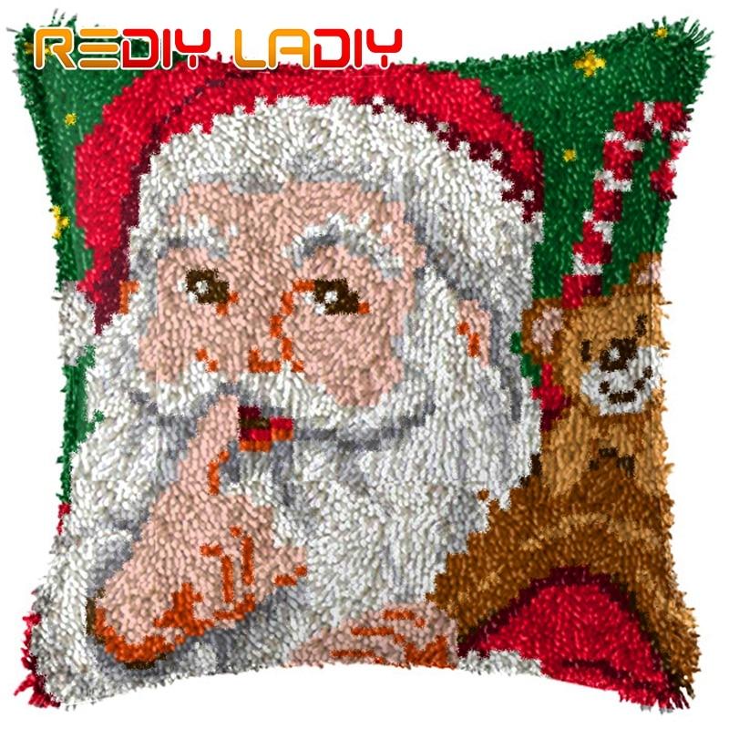 Pasador para bricolaje, Kit de cojín de gancho, funda de almohada de Santa Claus, hilo acrílico para manualidades de ganchillo para bordado de sofá, funda de cojín para cama, decoración del hogar