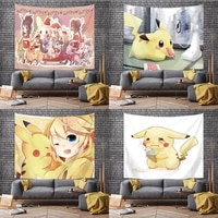 pokemon cute cartoon pikachu tapestry birthday party background cloth student dormitory hanging cloth home decoration tapestry