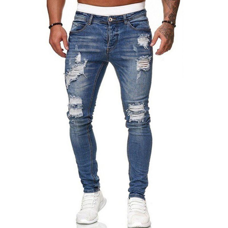 Обтягивающие рваные джинсы для мужчин, облегающие колготки, уличная одежда, мотоциклетные брюки-карандаш в стиле хип-хоп, мужские черные дж...