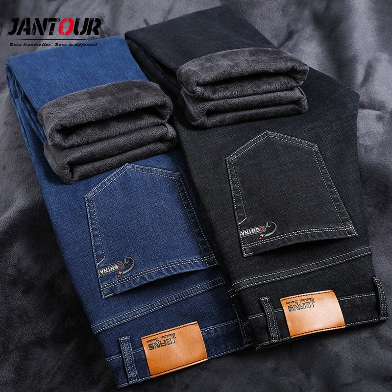 2020 invierno nuevo terciopelo grueso cálido hombres casual jeans youth marca ropa talla grande stretch jeans azul negro 28-35 40 42 44 46