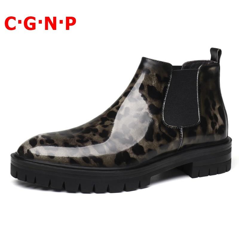 C · G · N · P جديد وصول ليوبارد طباعة عالية الجودة براءات أحذية من الجلد الرجال الشتاء باطن سميكة تشيلسي حذاء من الجلد الرجال حذاء كاجوال