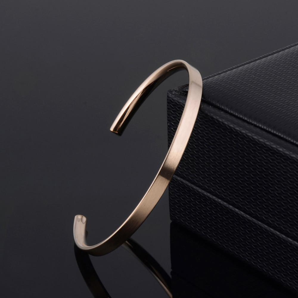 1 pièces nouveau délicat 4mm mince charme ouvert manchette Bracelets en acier inoxydable élégant or noir Rose or hommes femmes qualité Bracelets cadeau