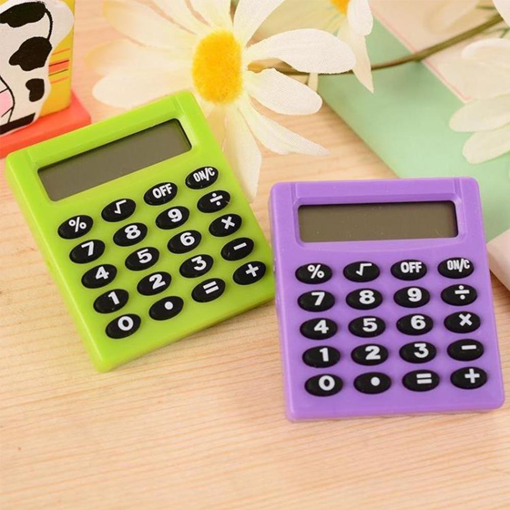 Novo estudante pequeno mini calculadora eletrônica doces 5 cores calculando material de escritório presente