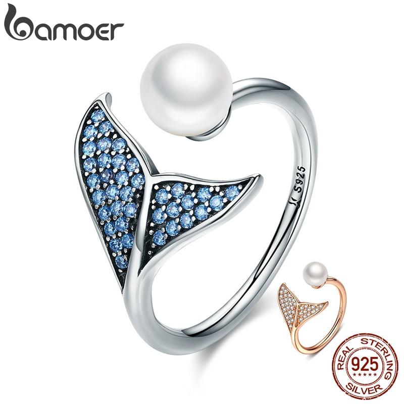 BAMOER autentico anillo de Plata de Ley 925 ajustable con cola de Delfín Azul CZ para mujer joyería de plata de ley regalo SCR286