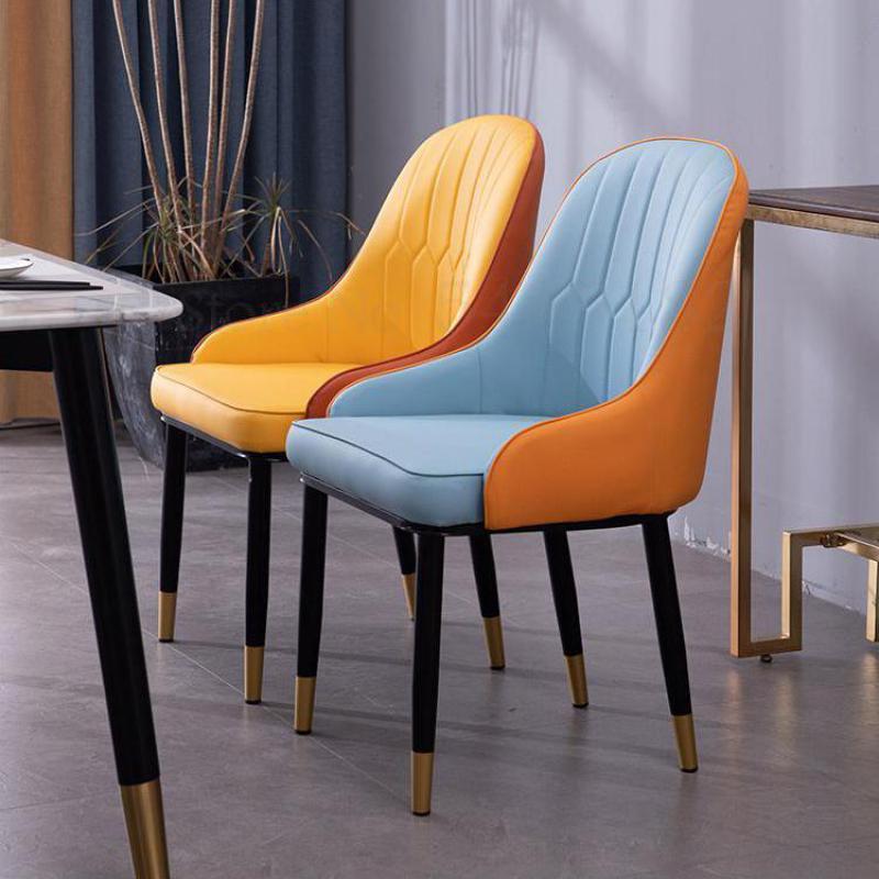Silla de comedor de lujo nórdico para la familia, mesa de comedor Simple moderna, comedor para silla de Hotel, restaurante, discusión, silla de cuero, taburete trasero