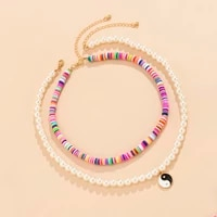 polymer clay y2k rainbow choker necklace for women boho fashion pearl bead chain with tai chi coin pendant necklace 2021 fashion