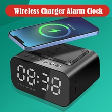 Wireless Charger Alarm Clock Bluetooth Speaker LED Smart Digital Clock Table Electronic Desktop Cloc