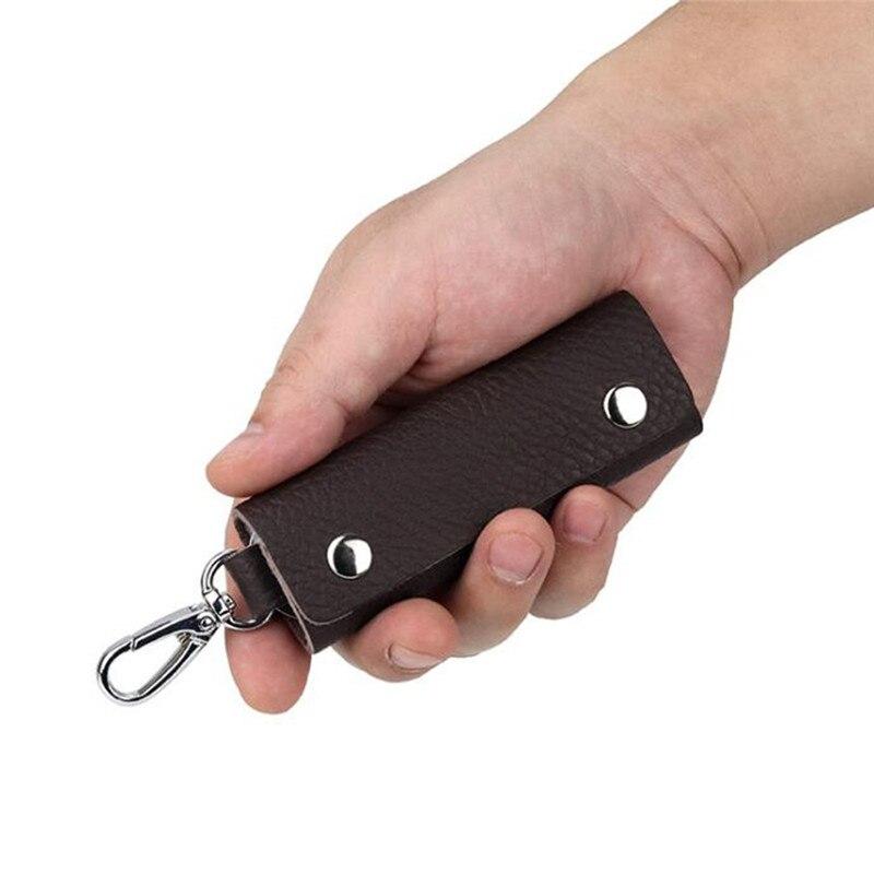 New Leather Keychain Men Women Key Holder Organizer Pouch Cow Split Car Wallet Housekeeper Key Case