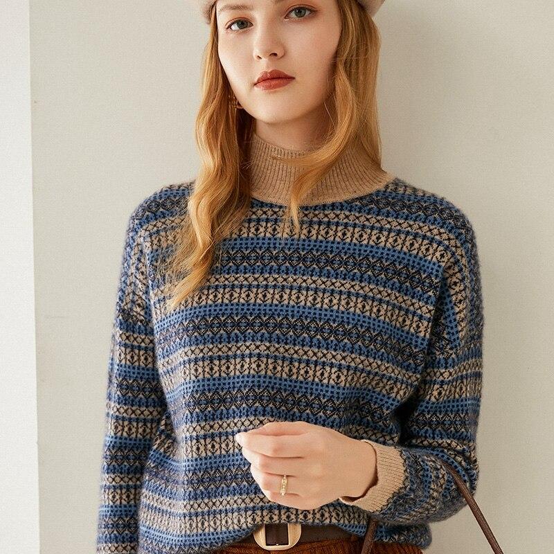 Tailor Shop Custom Made Half Turtleneck Pure Cashmere Short Sweater Striped Loose Version Short Pullover Knit enlarge