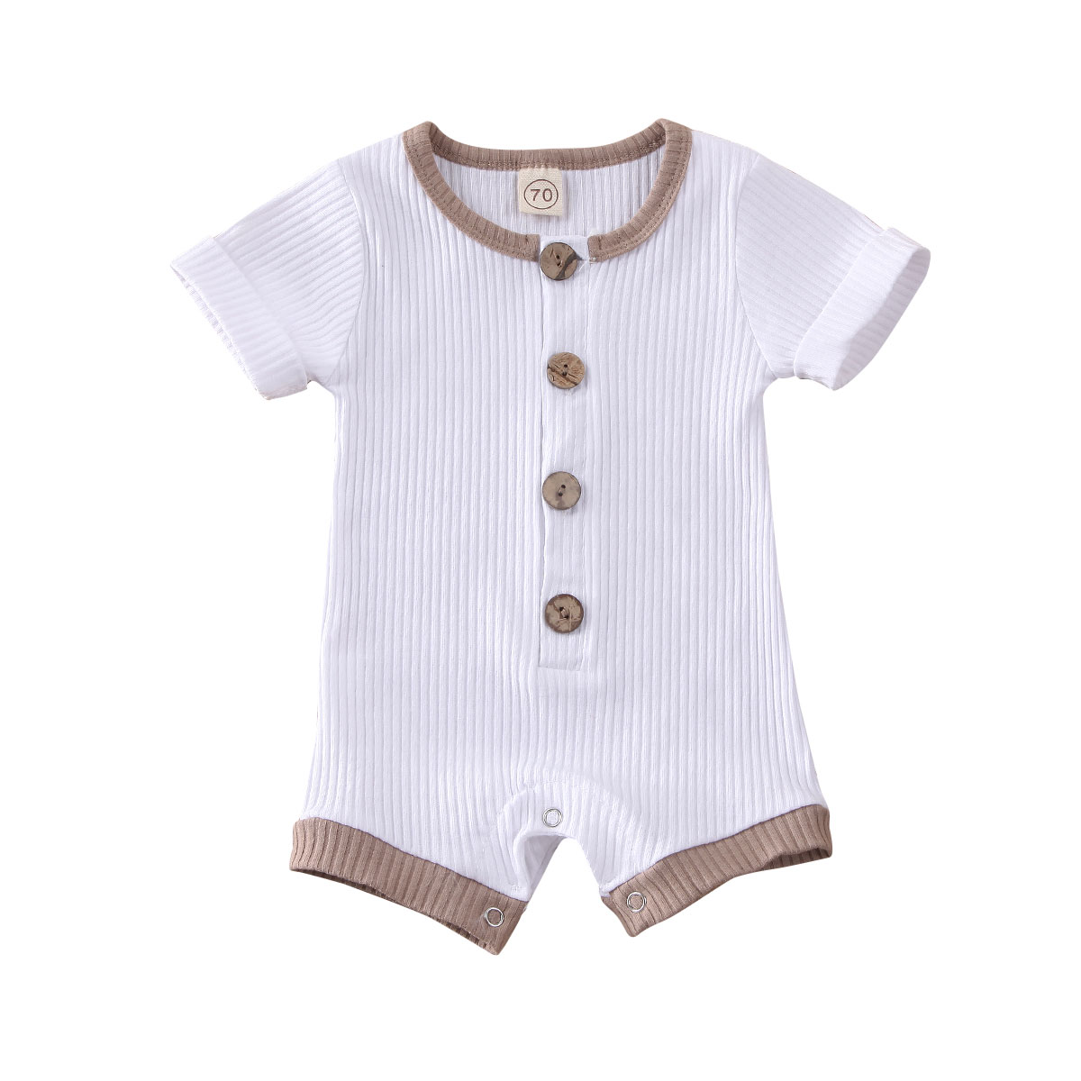 2021 Newborn Infant Baby Summer Clothing Boys Girls Clothes Ribbed Solid Romper Jumpsuit Short Sleeve Outfit 0-18M Kids Clothes