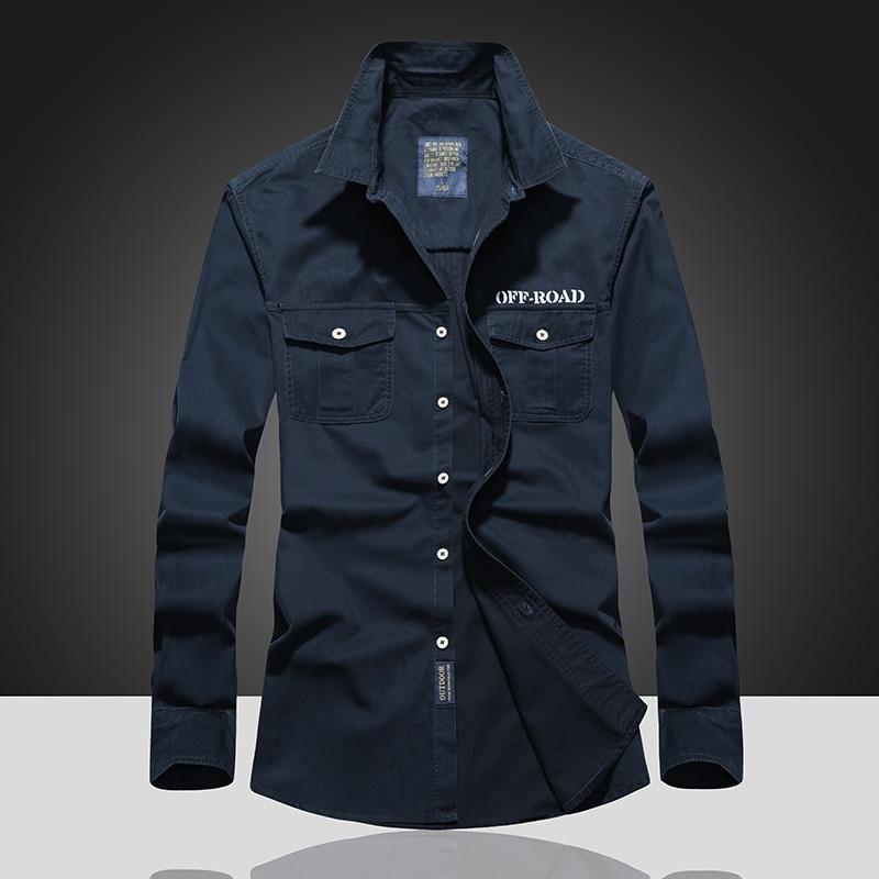 Camisetas de manga larga para hombre con estampado de doble bolsillo para hombre de tallas grandes, camisa de otoño M-7XL para hombre