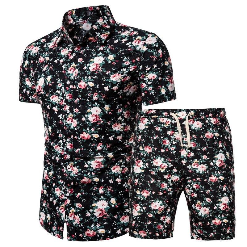 صيف جديد الرجال الكورية نمط العصرية قصيرة الأكمام قمصان السراويل المطبوعة الدعاوى 2021 موضة ملابس الشاطئ الرجال عادية
