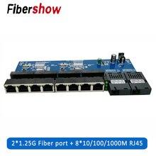 Konwerter transmisji światłowód Gigabit włącznik Ethernet PCBA 8 RJ45 UTP i 2 SC Port światłowodowy 10/100/1000M płytka PCB