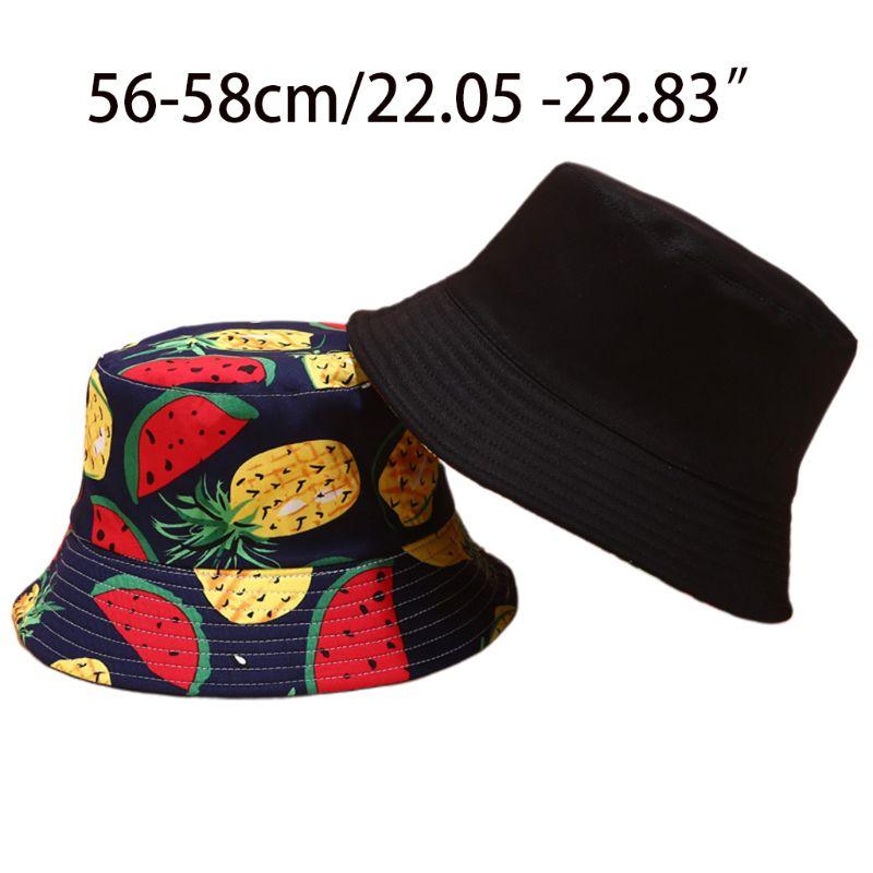 Gorro de pescador de ala ancha con estampado de piña y plátano Tropical colorido para mujer y hombre de verano Reversible