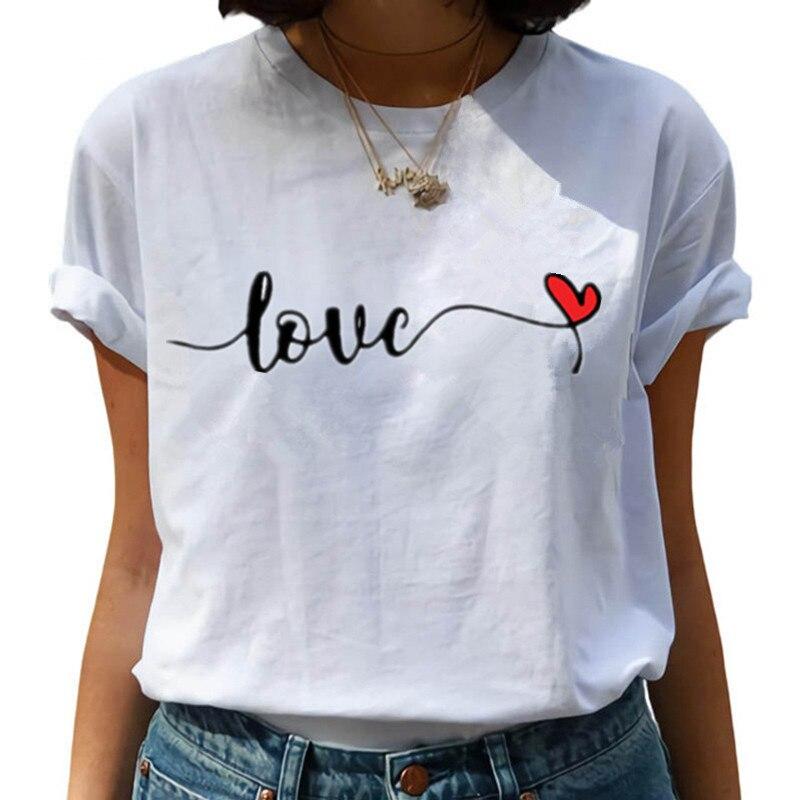 Женская футболка с принтом Love, Повседневная футболка в стиле Харадзюку, топы с коротким рукавом, женские футболки для отдыха, женская одежда, Новинка лета 2021