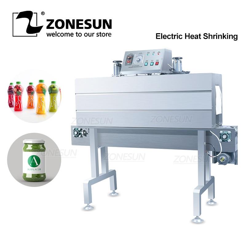 ZONESUN التلقائي الكهربائية البلاستيكية ماكينة إعادة تدوير الأغطية من البولي بروبلين الحرارة تقلص آلة زجاجة نبيذ صلصة إبريق زجاجي تسمية يتقلص