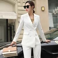 autumn womens suit 2020 new fashion two piece professional wear casual korean version of the suit jacket wide leg pants suit