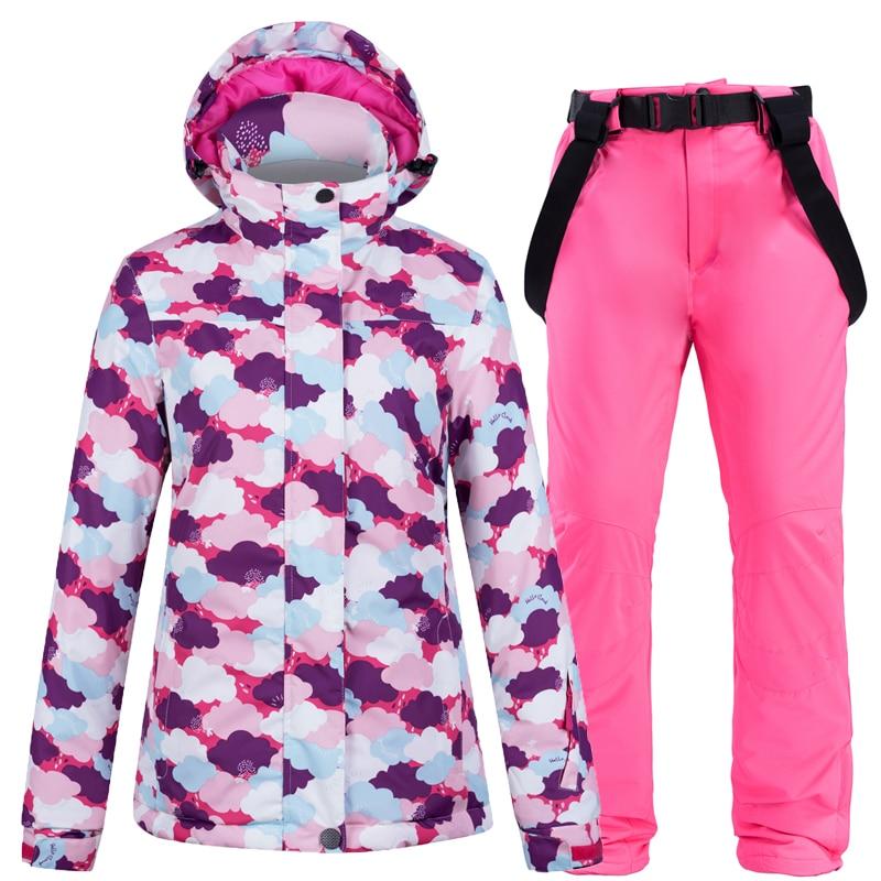 New Ski Jacket Ski Pants Women Windproof Waterproof Warm Winter Ski Suit Women Outdoor Sports Skiing Snowboarding Coat Clothing