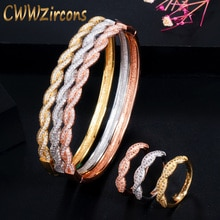 Cwwzircon твист линии кубический цирконий Дубай розовое золото цвет открытый манжеты Африканский браслет и кольцо ювелирный комплект T458
