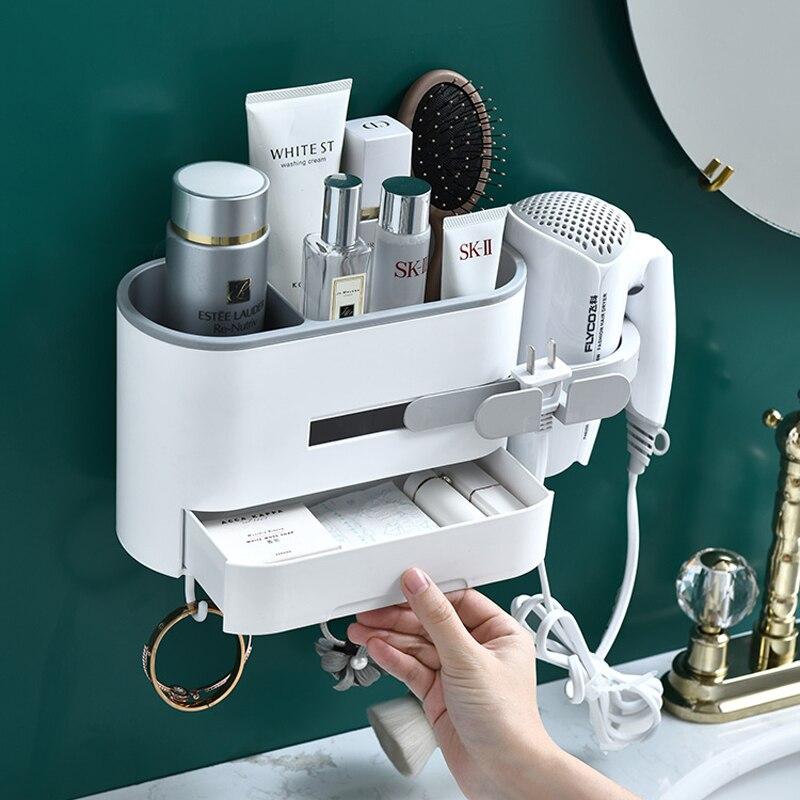 صندوق تخزين مستحضرات التجميل المثبت على الحائط ، منظم الحمام ، حامل الشامبو ، رف مجفف الشعر