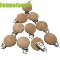 fosmeteor 20pcs wooden pacifier clip nursing accessories beech pacifier clips chewable teething dummy clip chains baby teether