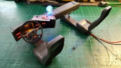 Led Red blue Instrument desk lamp With car logo For 1/14 Tamiya RC Truck MAN TGX 56325 Tractor modification 3.2v enlarge