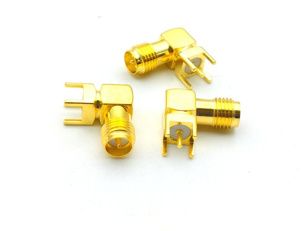 100 قطعة جديد الذهب RP-SMA أنثى التوصيل مركز الزاوية اليمنى لحام قاعدة لوحة دائرة مطبوعة RF محول