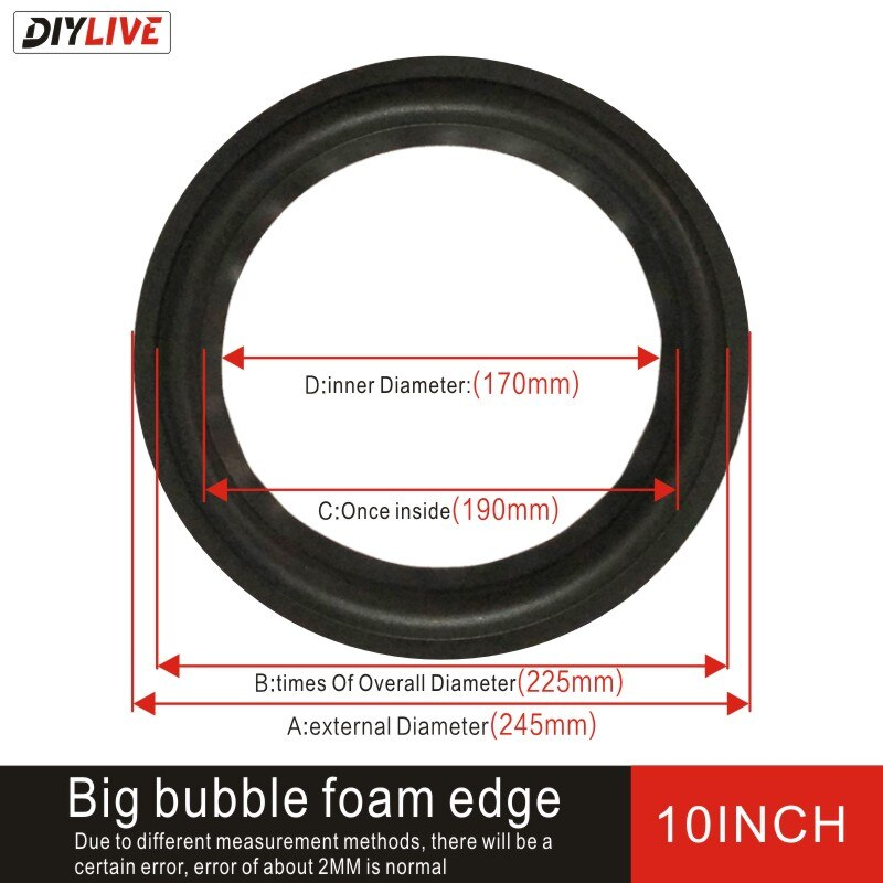 DIYLIVE 10-inch foam edge narrow bubble foam repair accessories foam edge fold on subwoofer edge (225mm) enlarge
