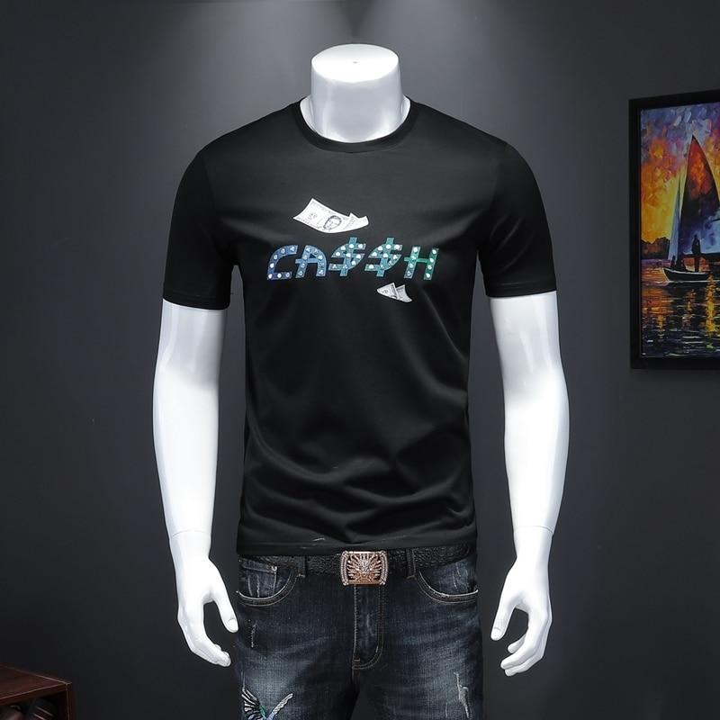 Camiseta Coreana de verano para Hombre, camiseta informal con estampado para Hombre, camiseta para Hombre de manga corta de marca 2020