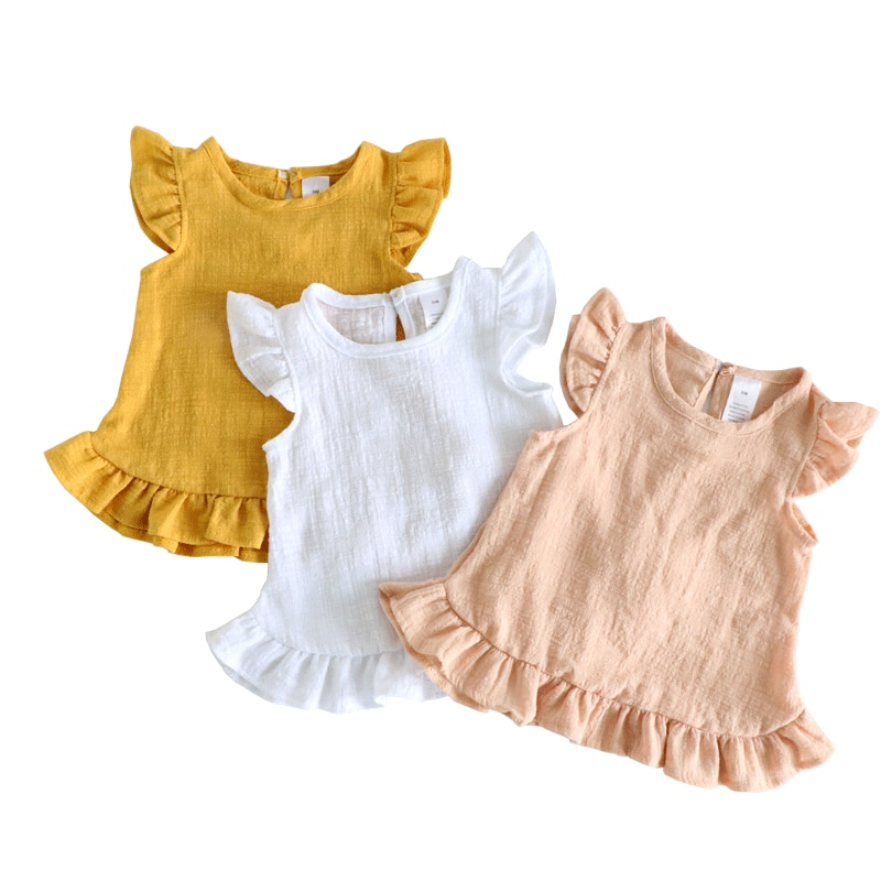 Ruffle Sleeve Summer Girls Blouses Tops Linen Cotton Lace Casual Children Kids Baby Girl Clothes Shirts Dress