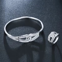 funmode 2pcs white gold color bangle ring sets bridal jewelry sets shiny cubic zircon jewelry sets wholesale fs39