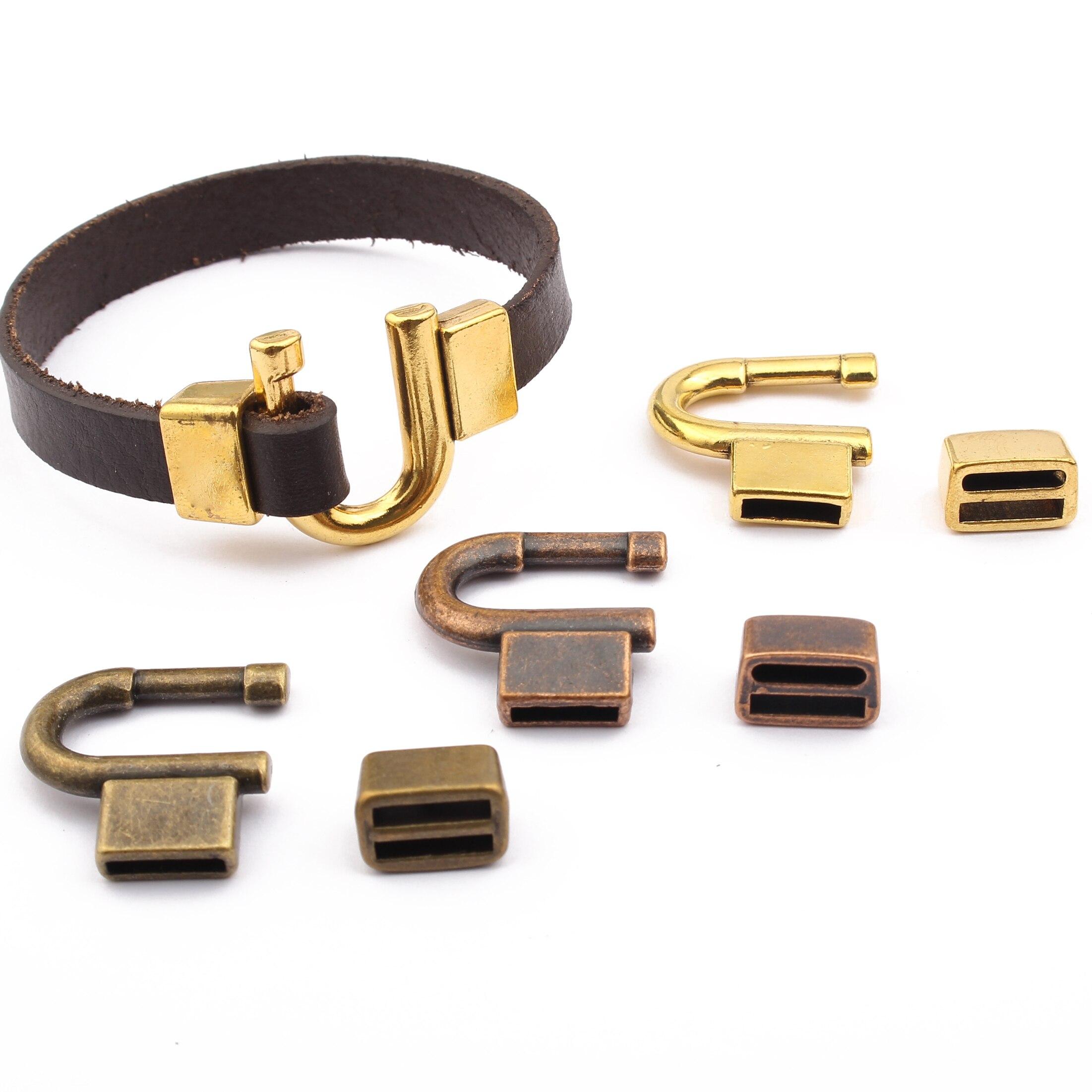 3 ensembles fer à cheval crochet fermoir 10x2mm U pointe pointu plat curseur fermoir pour 10mm ou 5mm cuir plat