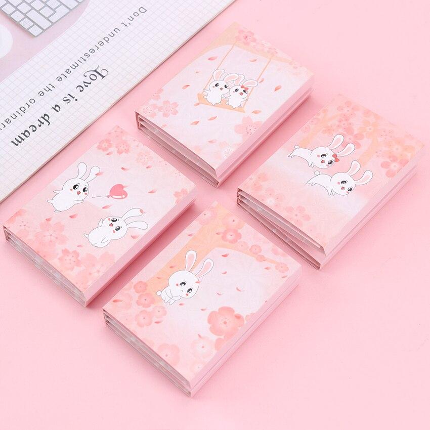 1 pieza serie de flores de cerezo Kawaii Mini conejo seis veces y notas adhesivas Fuente de la escuela marcador Bloc de notas etiqueta