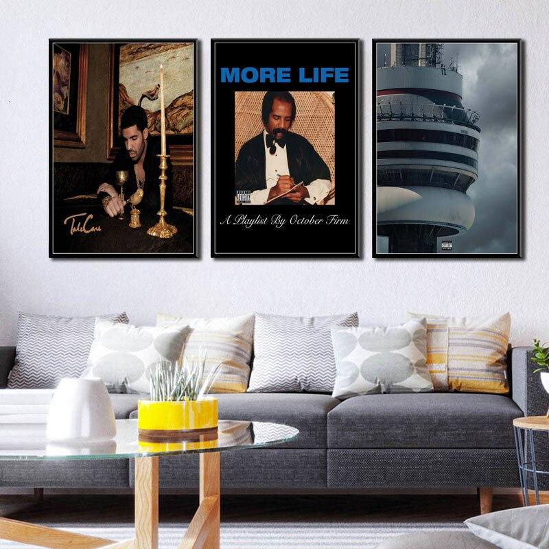 Álbum de Música Drake More Life Vews rapero Hip Hop Star Canvas Art Painting Posters e impresiones cuadros de pared decoración decorativa para el hogar