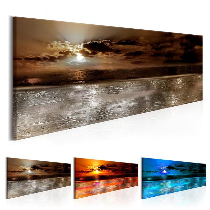 Arte de pared moderno de 5 piezas, pintura en lienzo de Serface de mar pacífico al atardecer rojo, imagen de decoración para sala de estar, cartel para casa